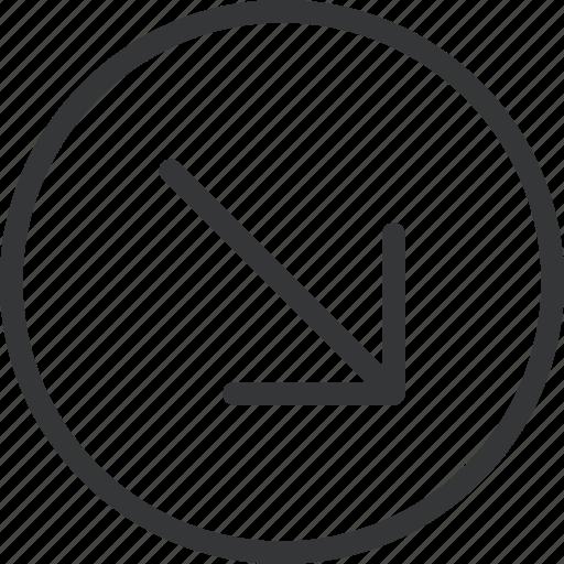 arrow, bottom, circle, right icon
