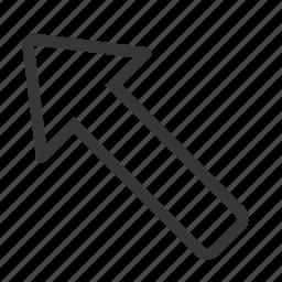 a, arrow, left, top icon