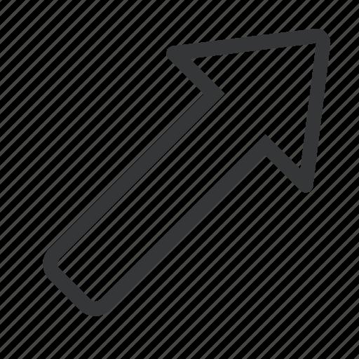 a, arrow, right, top icon