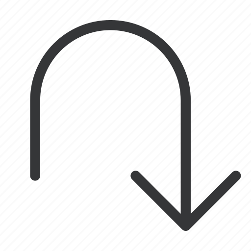 arrow, bottom, turn icon