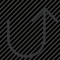 arrow, turn, up icon