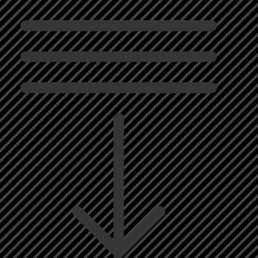 arrow, bring, down, list icon