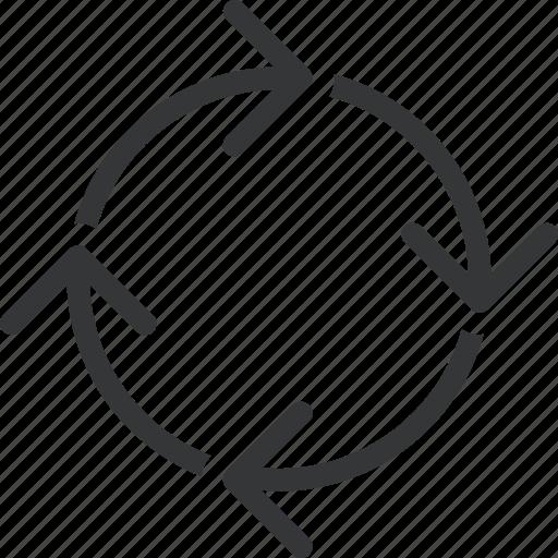 arrow, circle, full, loop, looping icon