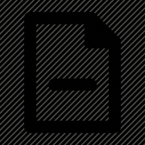 doc, document, file, minus, text icon