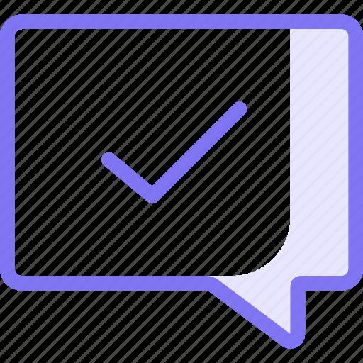 chat, communication, conversation, teamspeak, tick icon