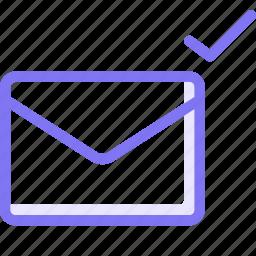 communication, conversation, email, teamspeak, tick icon
