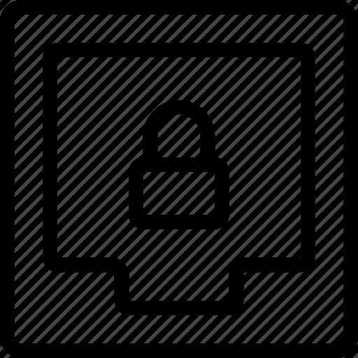 box, document, file, format, lock, private, ui icon
