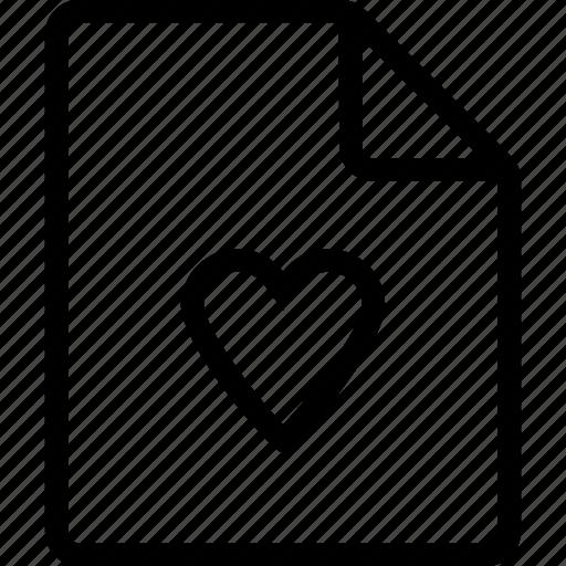 document, file, heart, ui icon
