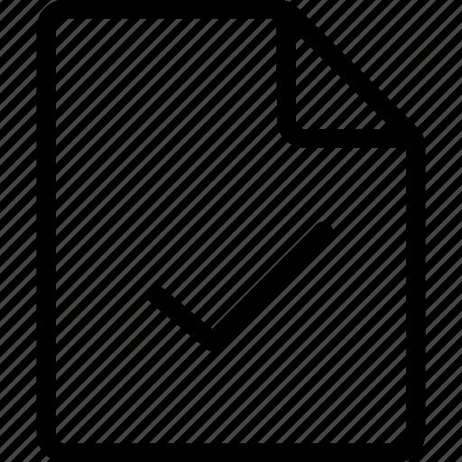 document, file, tick, ui icon