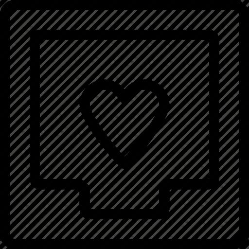 box, document, favorite, file, heart icon