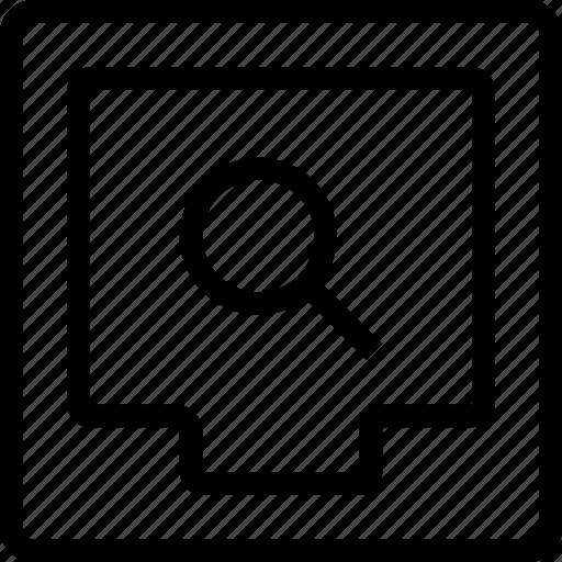 box, file, search icon