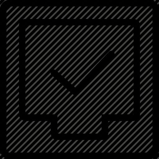 box, file, tick icon