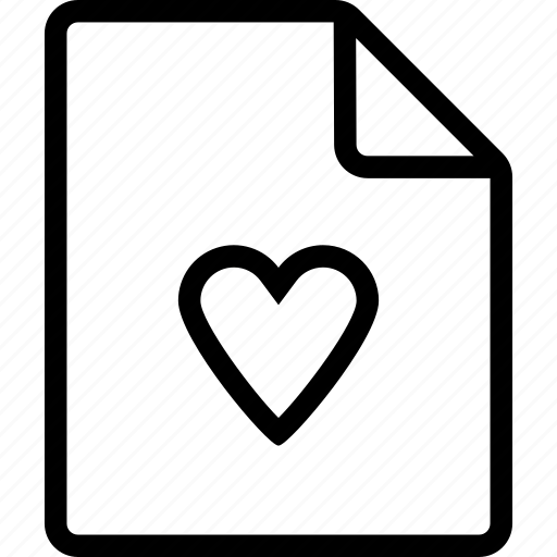 document, file, heart icon