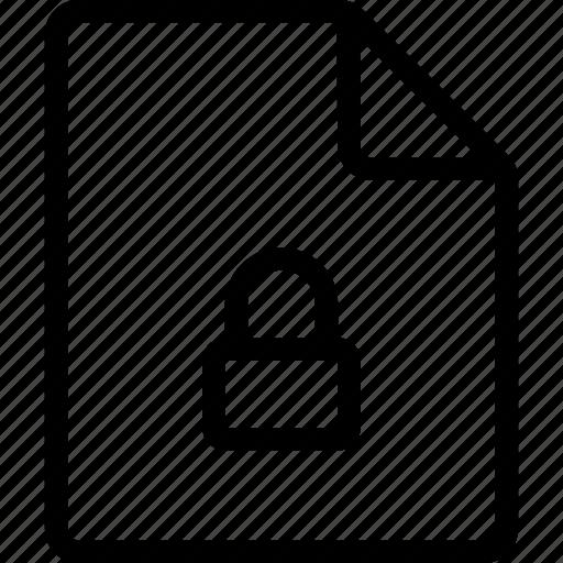 document, file, lock, locked, private, ui icon