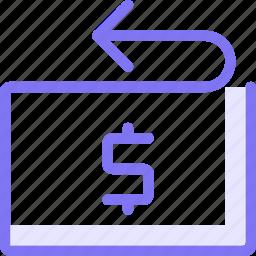 dollar, refund, refunding, return icon