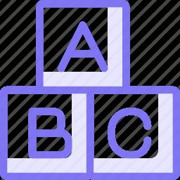 abc, blocks, education, learning, shape icon
