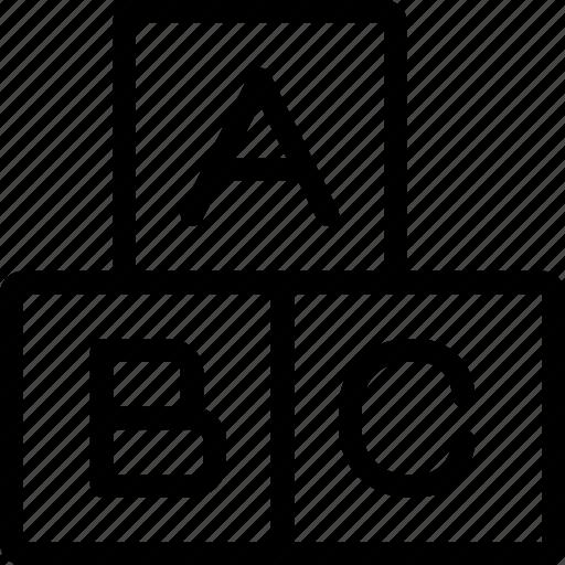 abc, blocks, education, learning icon