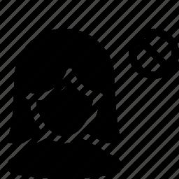 block, female, girl, user icon