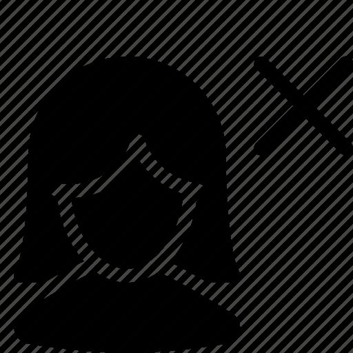 cross, female, girl, user icon