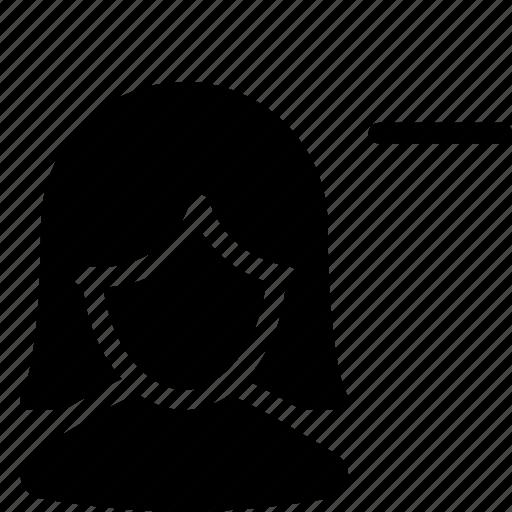 client, customer, female, minus, person, silhouette, user icon