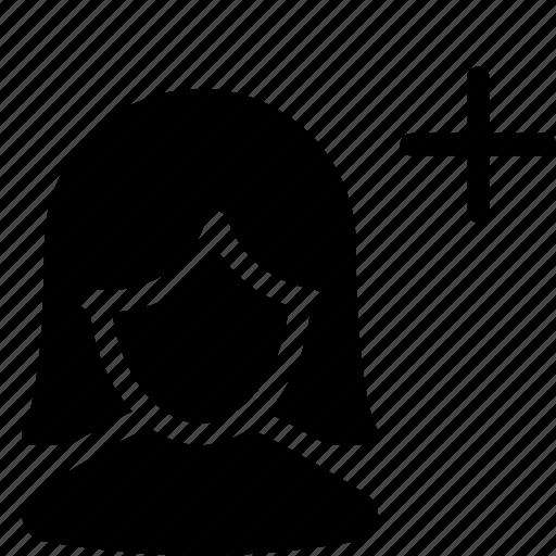 client, customer, female, person, plus, silhouette, user icon