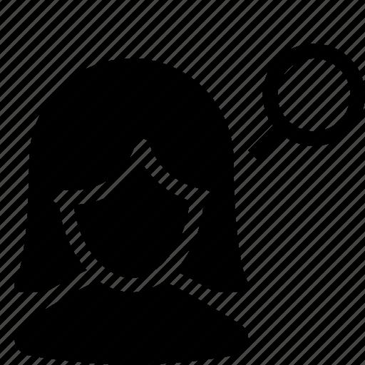 customer, female, girl, person, search, silhouette, user icon
