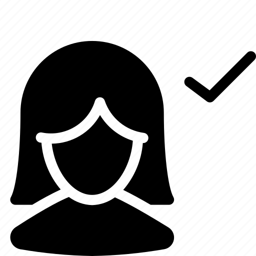 client, customer, female, person, silhouette, tick, user icon