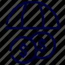 coin, insurance, protection, umbrella icon