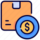 box, coin, delivery, dollar, goods, package, price icon