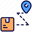 delivery, destination, location, logistic, package, route, track icon