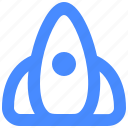 development, launch, rocket, spaceship, startup icon