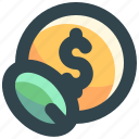 finance, growth, investment, leaf, money icon