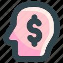 dollar, head, investment, mind, money icon