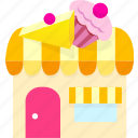 building, cake shop, food, house, market, shop, store icon