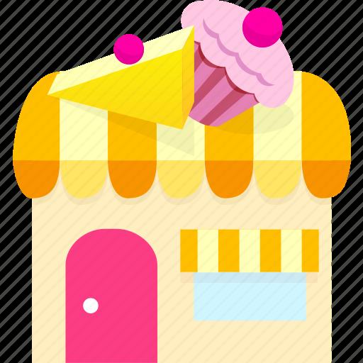building, cake shop, food, house, market, shop, store icon