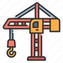 building, construction, crane, lifting, machine, machinery icon