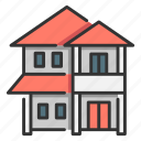 architecture, front, home, house, residence, story, two icon