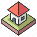 architecture, home, house, isometric, residential icon