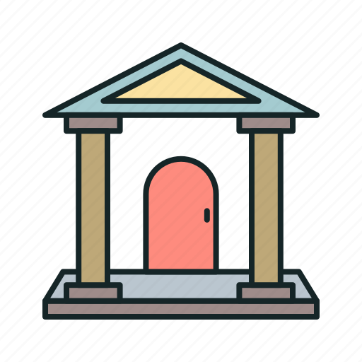 banking, buildings, columns, finance, finance and business icon