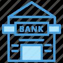 bank, building, outline, set, shadow, vol icon