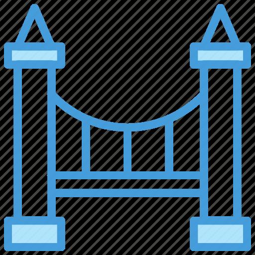 bridge, building, outline, set, shadow, vol icon