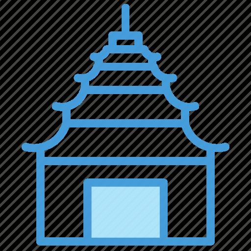 building, outline, pagoda, set, shadow, vol icon