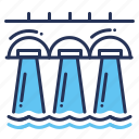 dam, hydroelectric, powerstation, water power icon