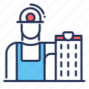 building, hard hat, builder, construction icon