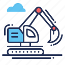 construction, digger, excavator, heavy equipment icon