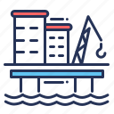 offshore, oil platform, rig, well site icon