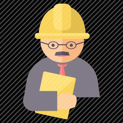 architect, avatar, engineer, labour, user, worker icon