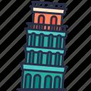 leaning, landmark, building, historical, travel, tower, italy
