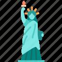 statue, landmark, liberty, america, historical, building, monument