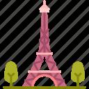 paris, landmark, eiffel, france, tower, building, monument
